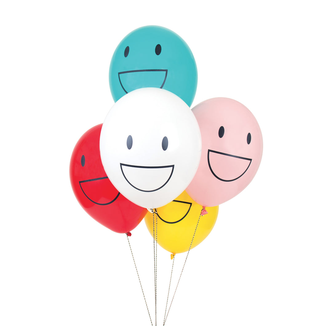 Happy face, tattooed balloons. 5pk