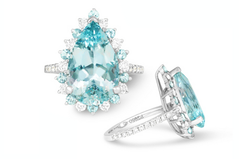 Custom Pear Shaped Aquamarine Engagement Ring made for Jewel Princess Client in Platinum