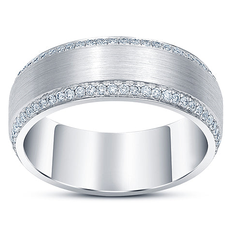 men's diamond eternity ring beveled edges white gold