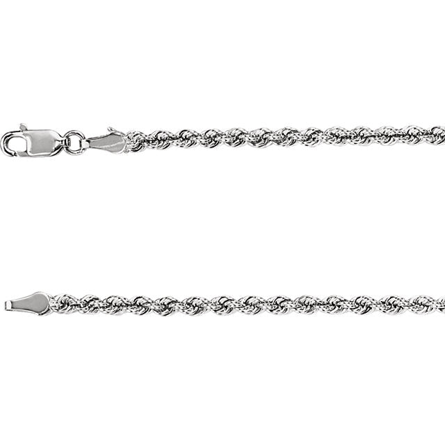 3mm White Gold Rope Chain - Chain