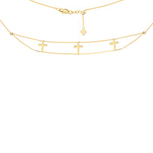 Gold Cross Choker Necklace - Necklace