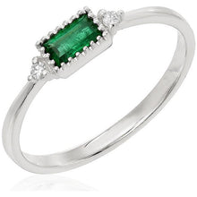 Dainty Emerald and Diamond Ring - Rings