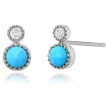 Turquoise & Diamond Earring Studs - Earrings