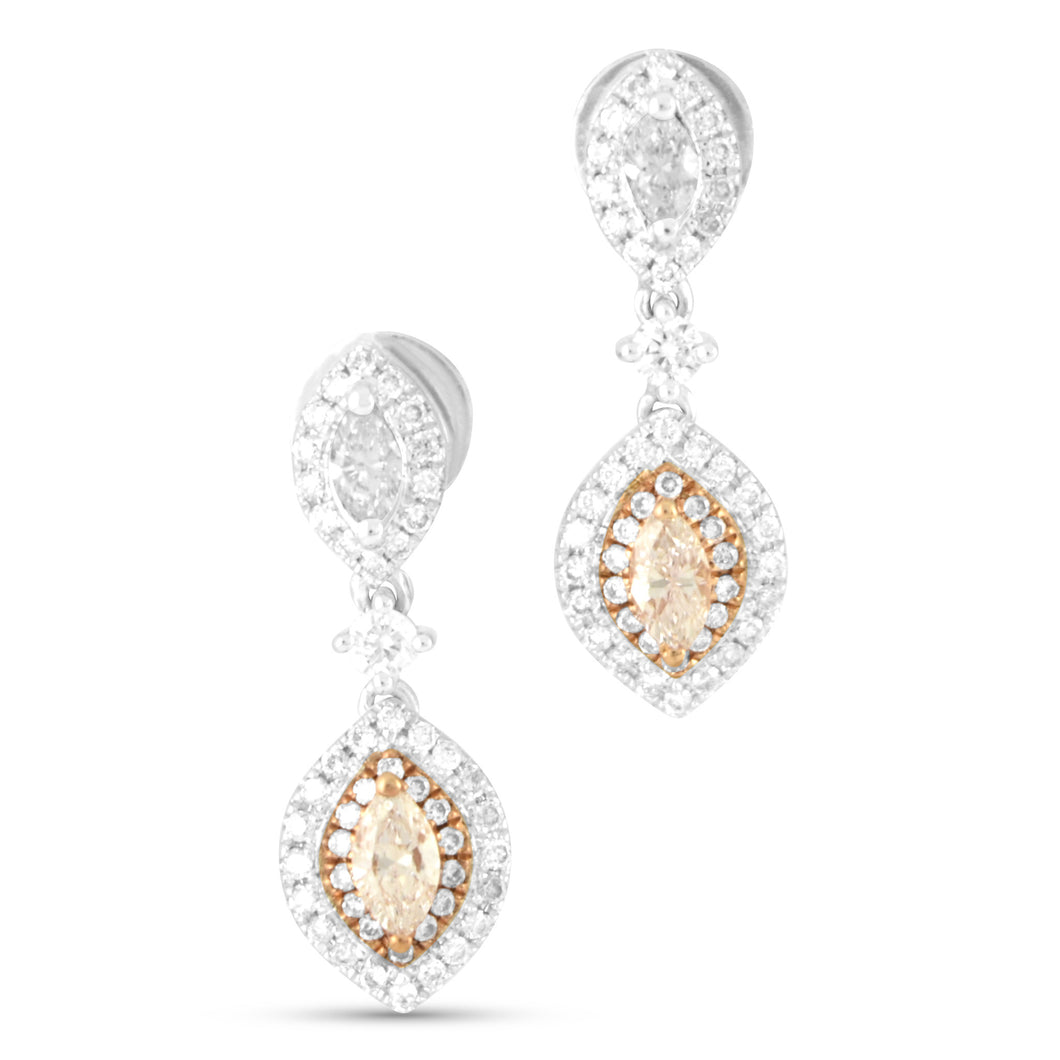 Princess Pink Diamond Drop Earrings - Earrings