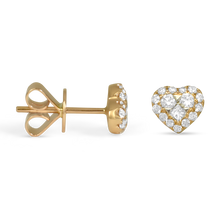 Lady Lovely Rose Gold Diamond Heart Earrings - Earrings