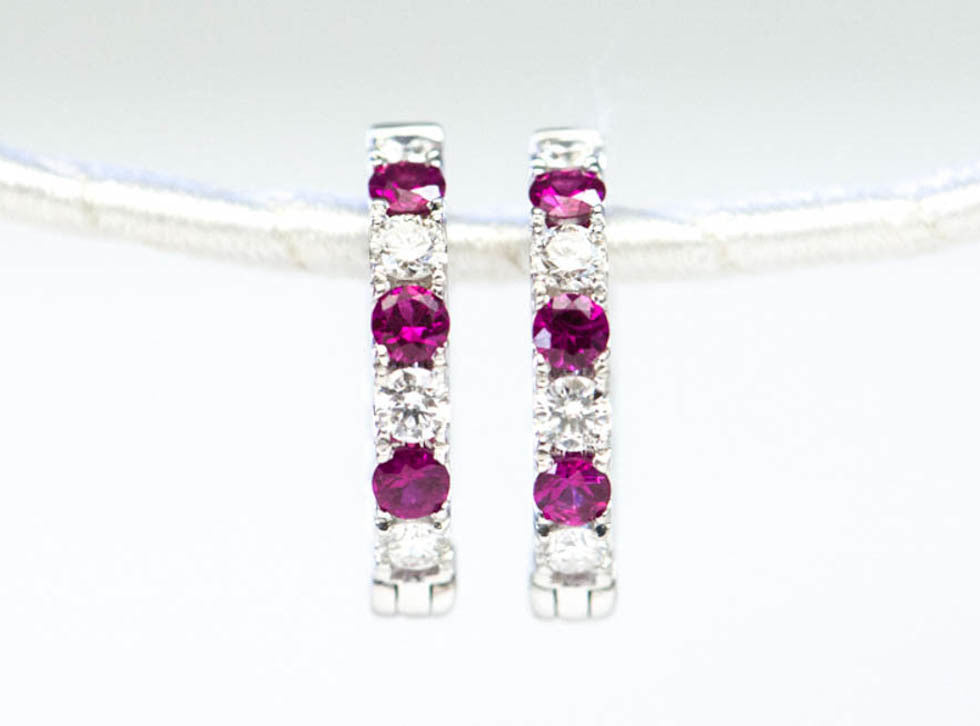 Ruby + Diamond Hoop Earrings - Earrings