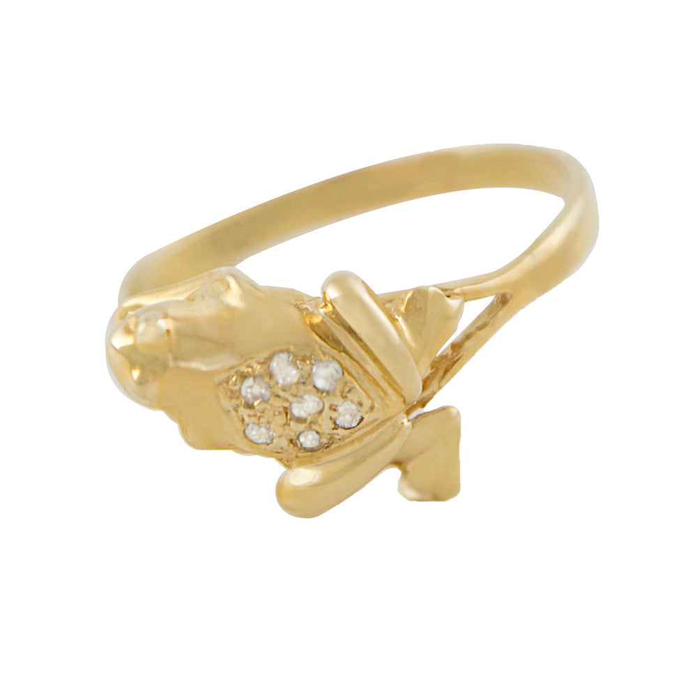 Gold Frog Ring with Diamonds - Estate