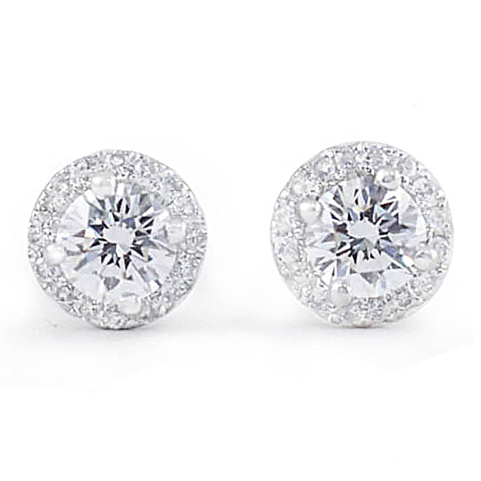 Diamond Halo Earrings - Earrings