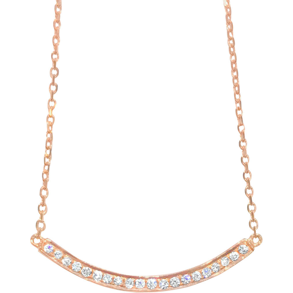 Curved Diamond Bar Necklace - Necklace