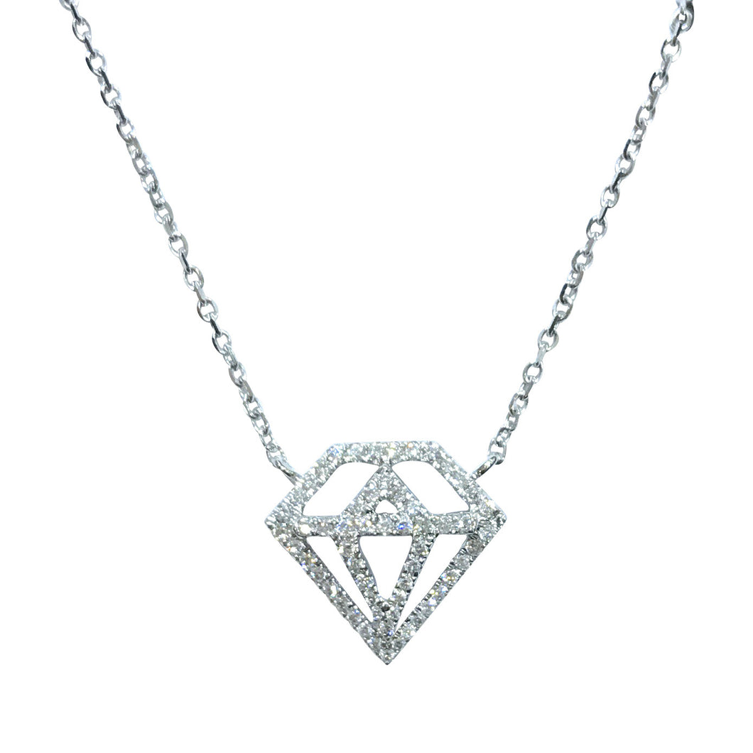 Diamond Shaped Pendant - Necklace