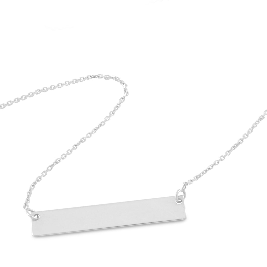 Small Bar Necklace 14K White Gold - Necklace