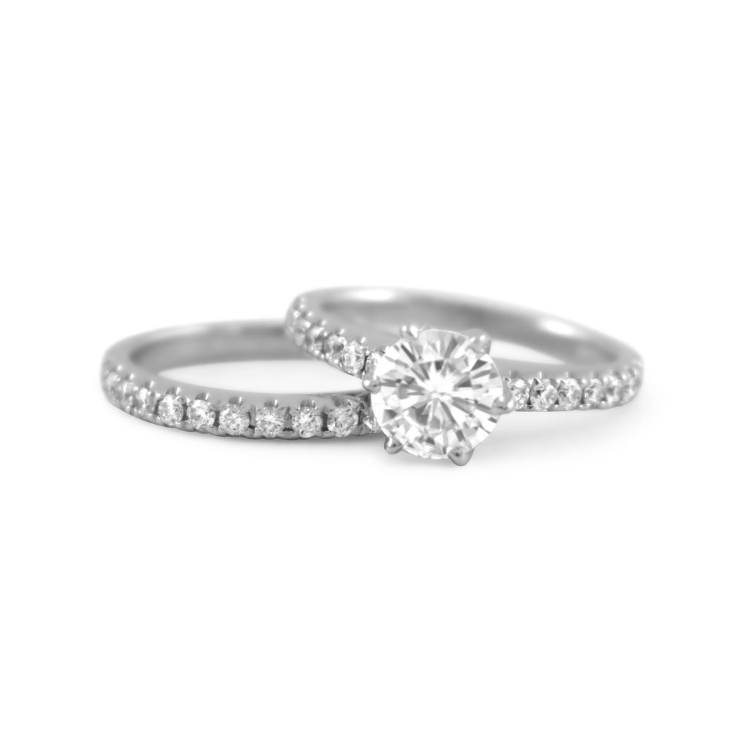 Victoria Moissanite & Diamond Wedding Set - Rings
