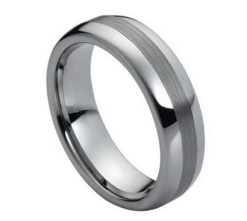 Rounded Matte Center Tungsten Ring - Rings