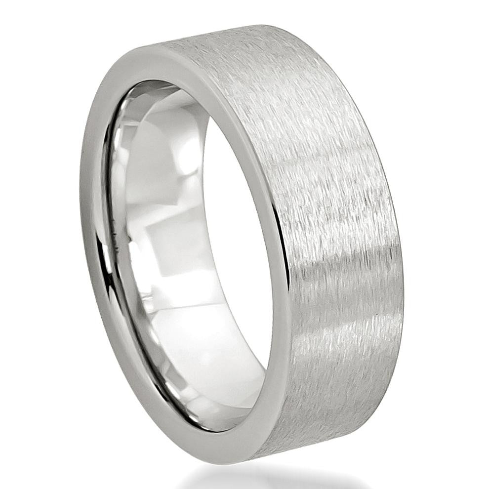 Brushed Men's Ring White Gold - Rings