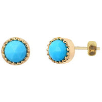 Turquoise Stud Earrings  in Gold - Earrings