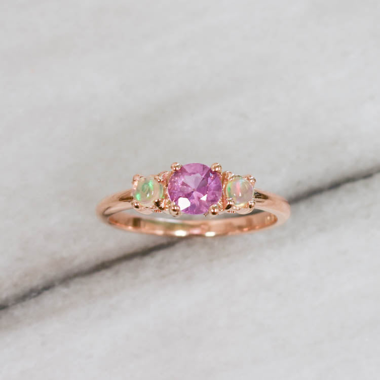 Burmese Pink Sapphire + Opal Three Stone Ring - Ring