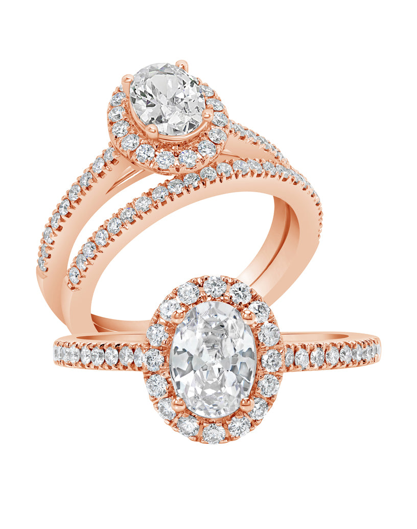 Oval Halo Diamond Ring - Rings