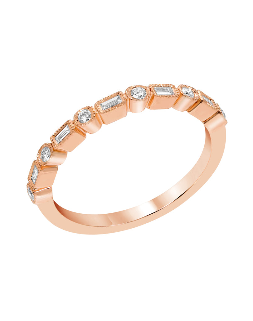 Milgrain Baguette Diamond Ring - Rings