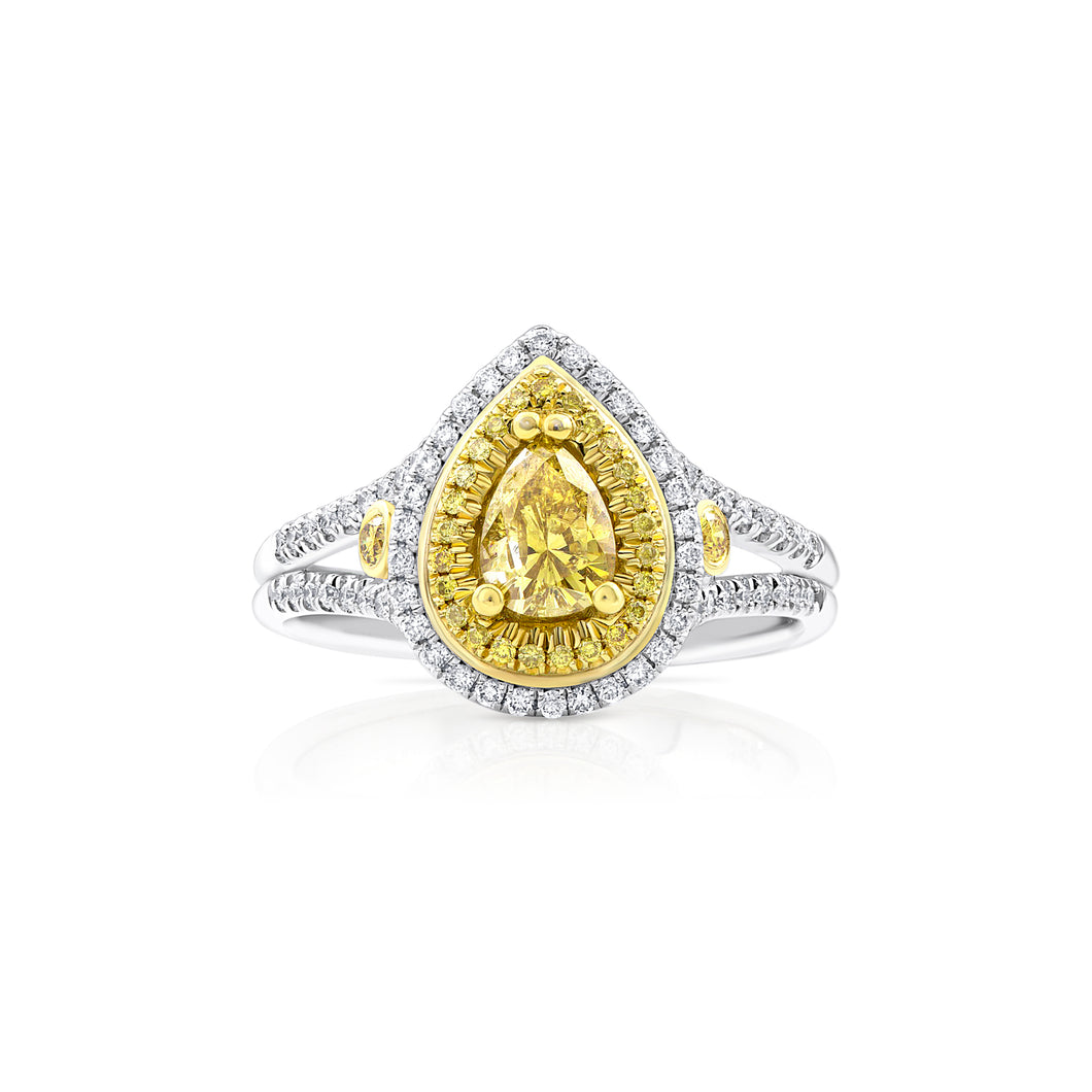 Yellow Diamond Pear Double Halo Ring - Rings