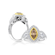Champagne Marquise and Pear Three Stone Halo Diamond Ring - Rings
