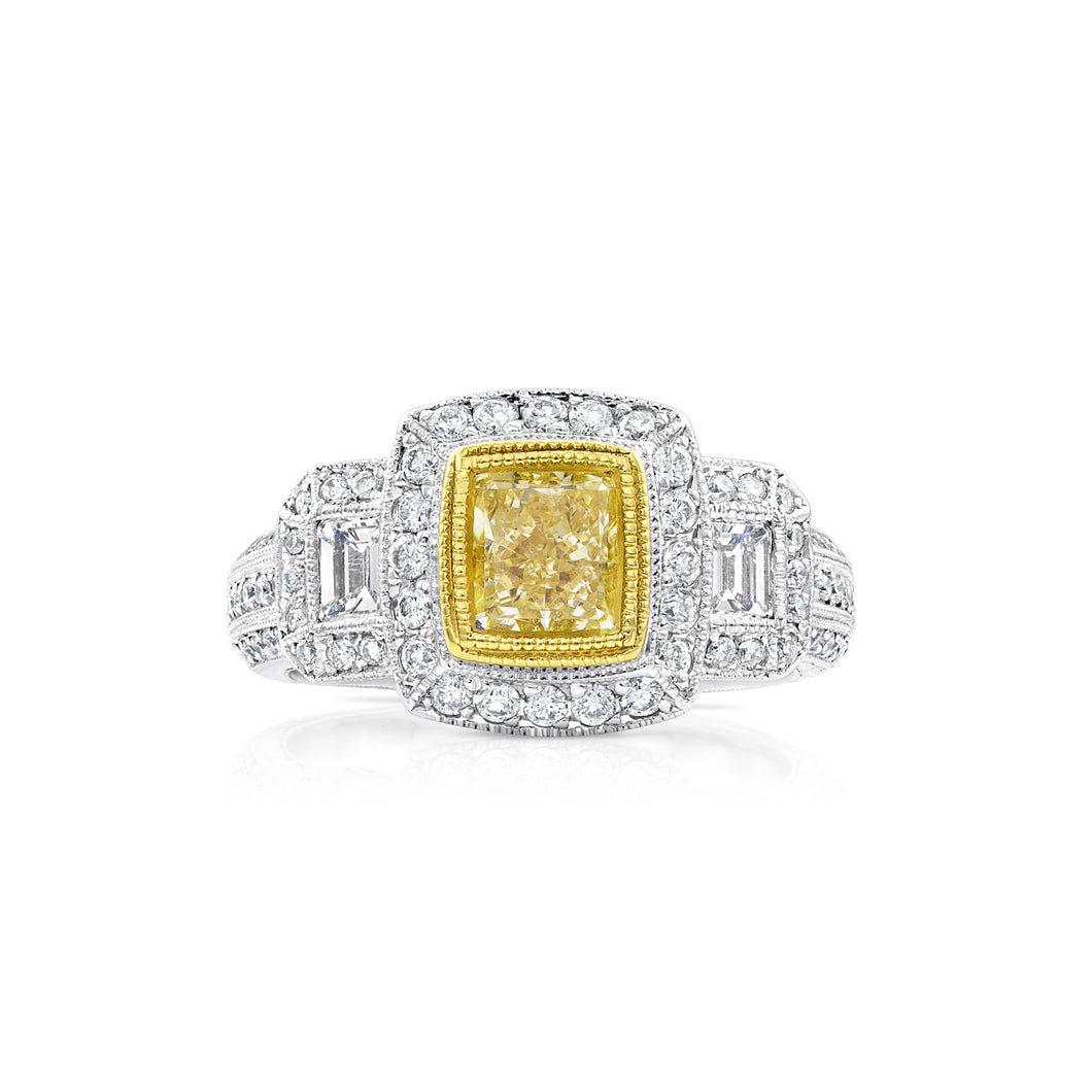Yellow Princess Cut Diamond Three Stone Ring - Rings