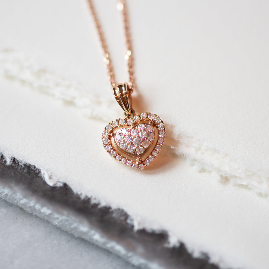 Rosy Diamond Heart Necklace - Necklace