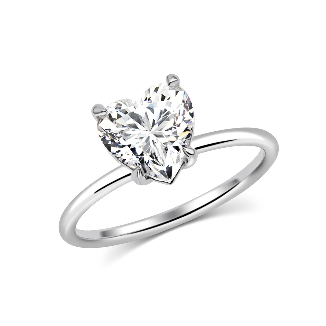 2 Carat Heart Solitaire Moissanite Ring - Rings