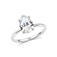 2 Carat Pear Solitaire Moissanite Ring - Rings