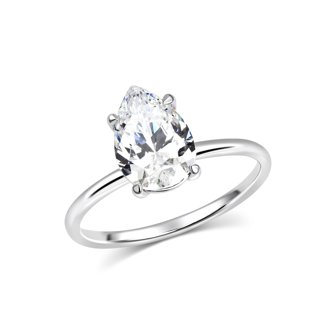 Pear Solitaire Moissanite Ring - Rings