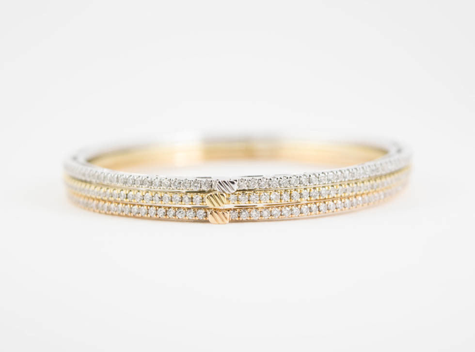 Tri-Color Eternity Diamond Bangles - Wrist