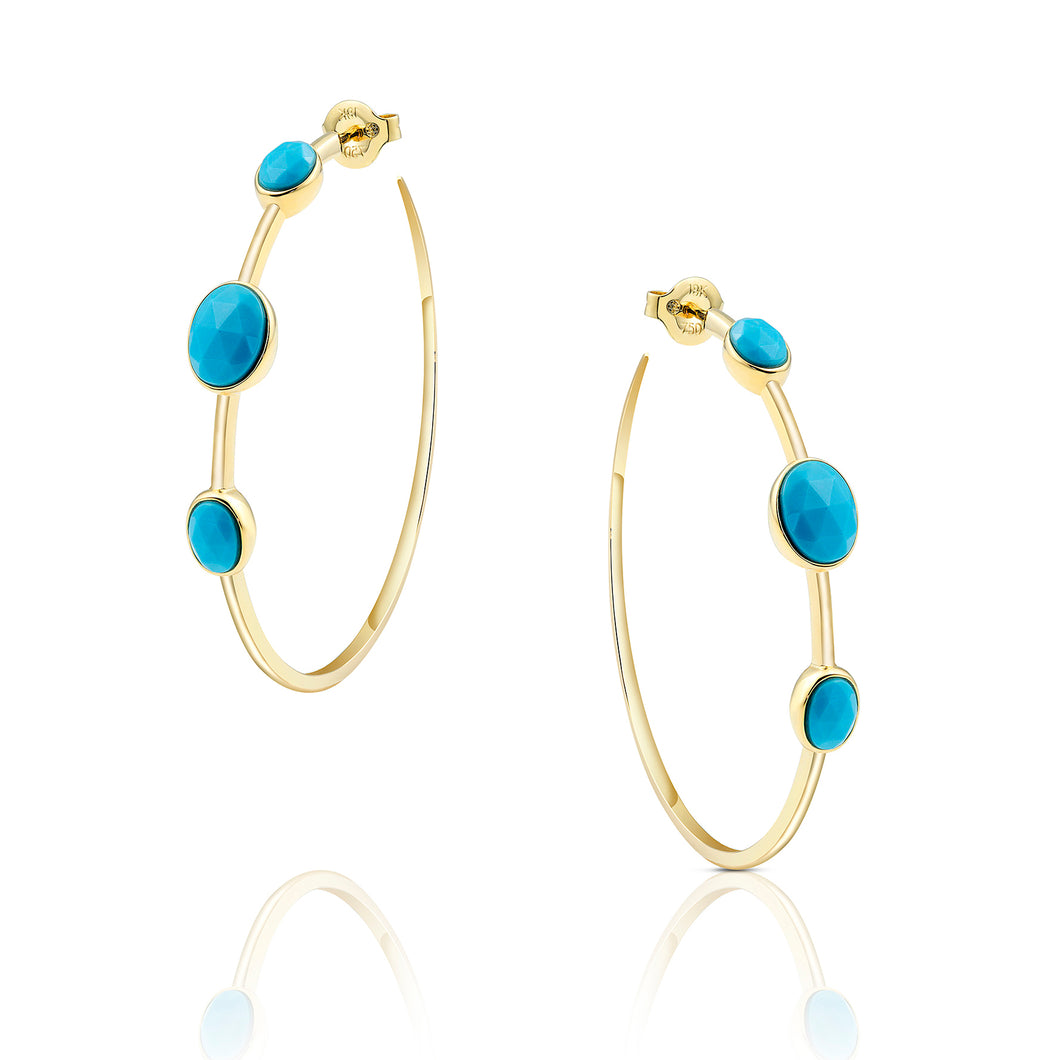 Turquoise Hoop Earrings - Earrings