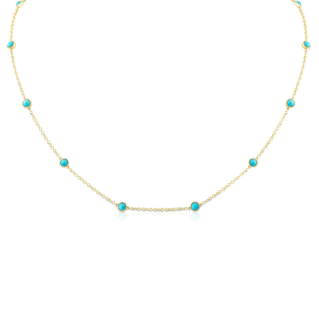 Chelsea Rose Cut Turquoise Necklace - Necklace