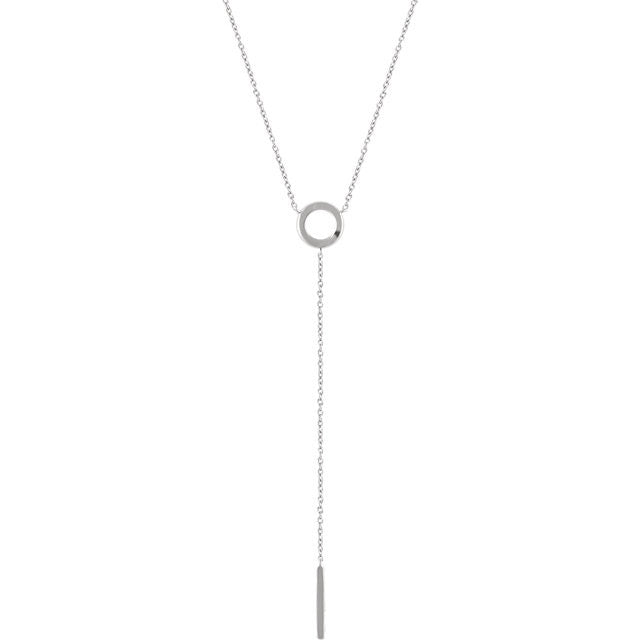 Circle + Bar Dainty Y Chain - Necklace