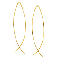 Curved Threader Gold Earrings - Earrings