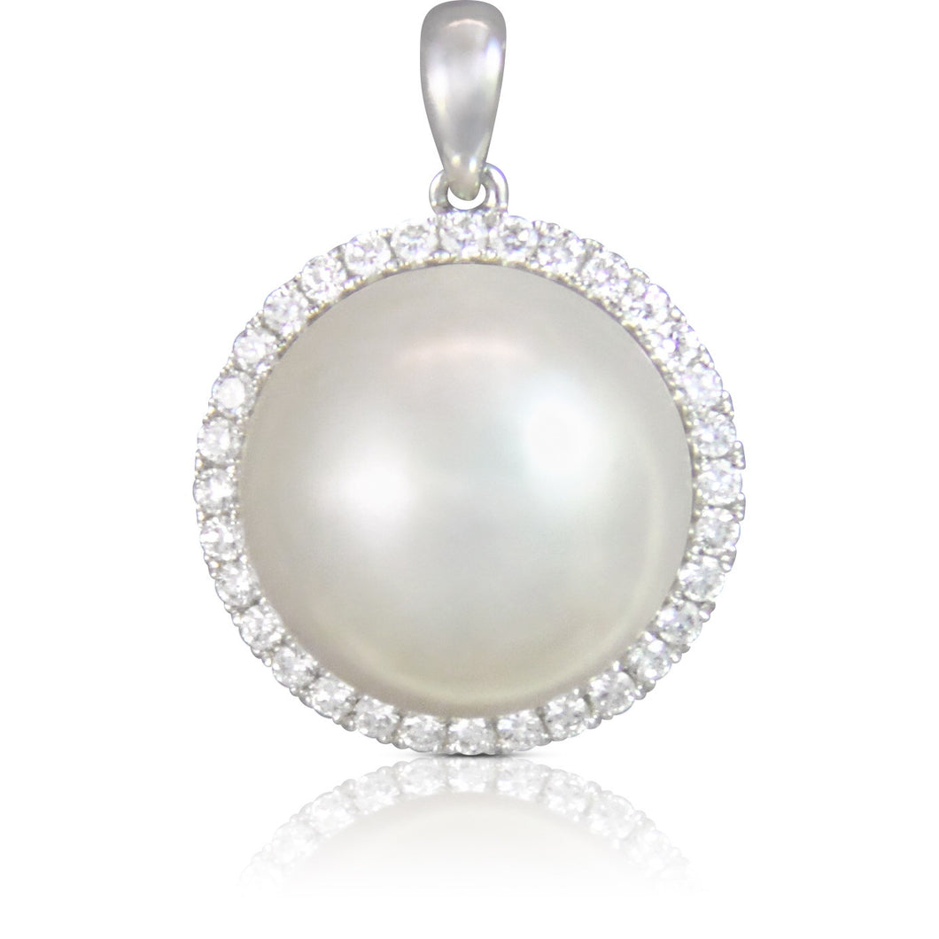 Round Diamond Halo White Pearl Pendant - Necklace