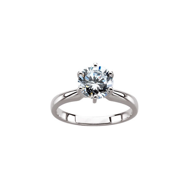 Forever One Moissanite Six Prong Solitaire Engagement Ring - Rings