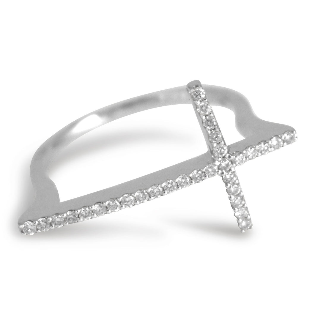 Dainty Diamond Cross Ring - Rings