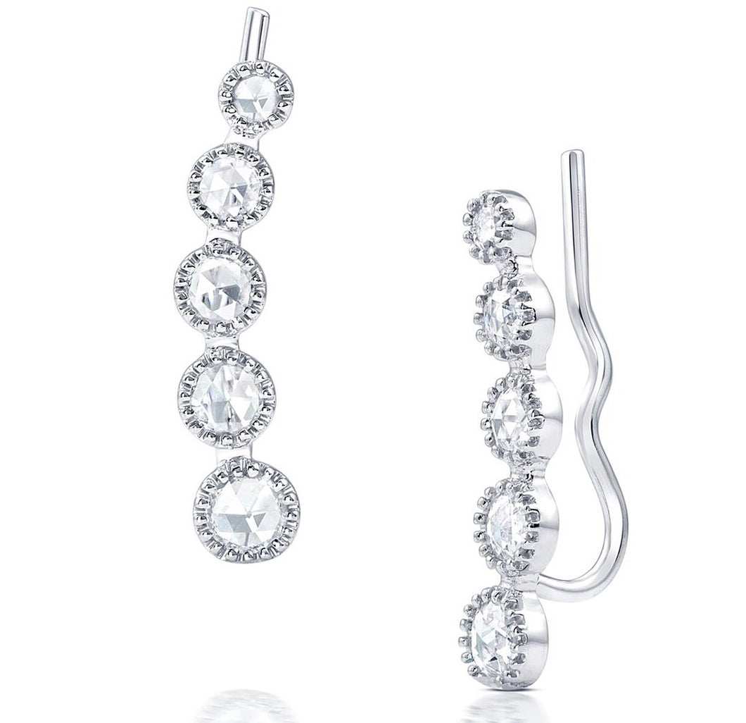 Lex Rose Cut Diamond Ear Climbers - Earrings