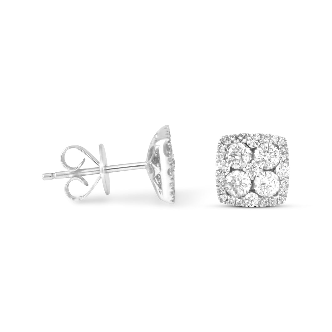 Square Cluster Diamond Earrings - Earrings