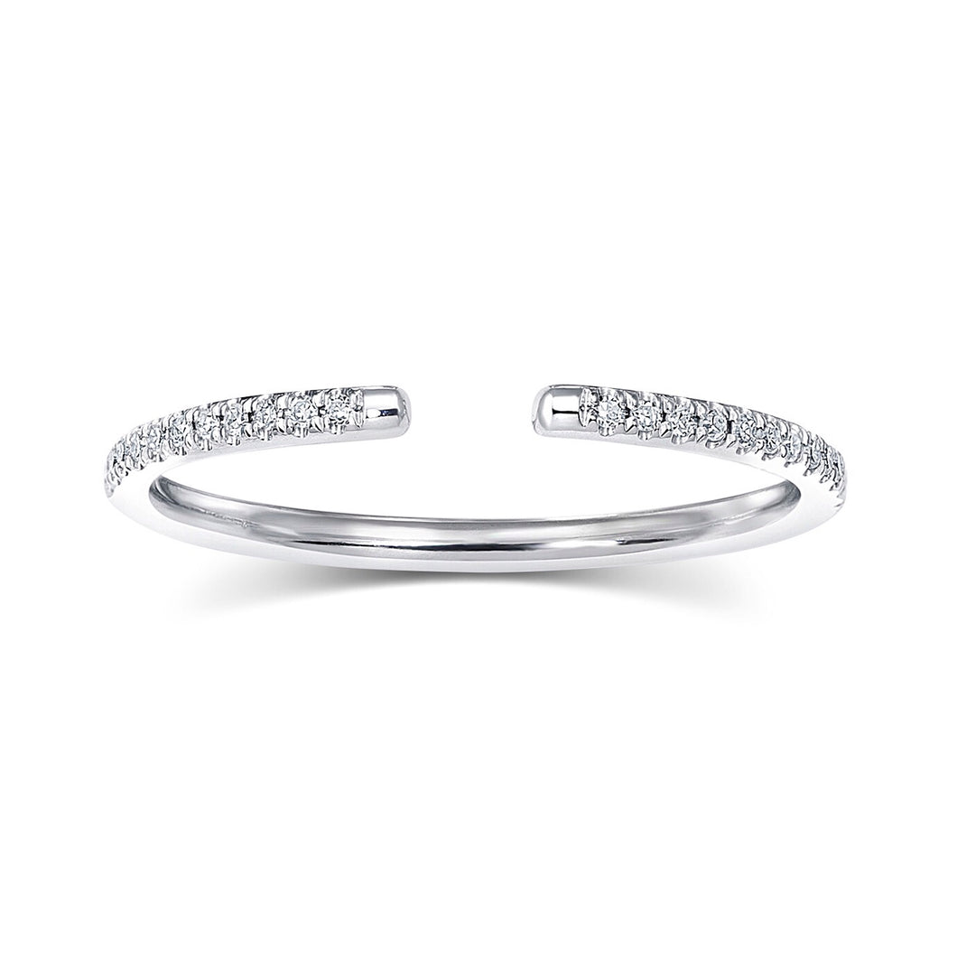 Zoe Open Diamond Ring With Halfway Diamonds - Rings