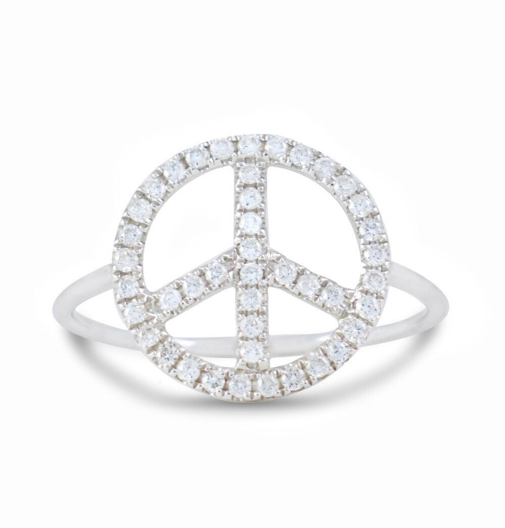Peace Is The Answer Dainty Diamond Ring - Rings