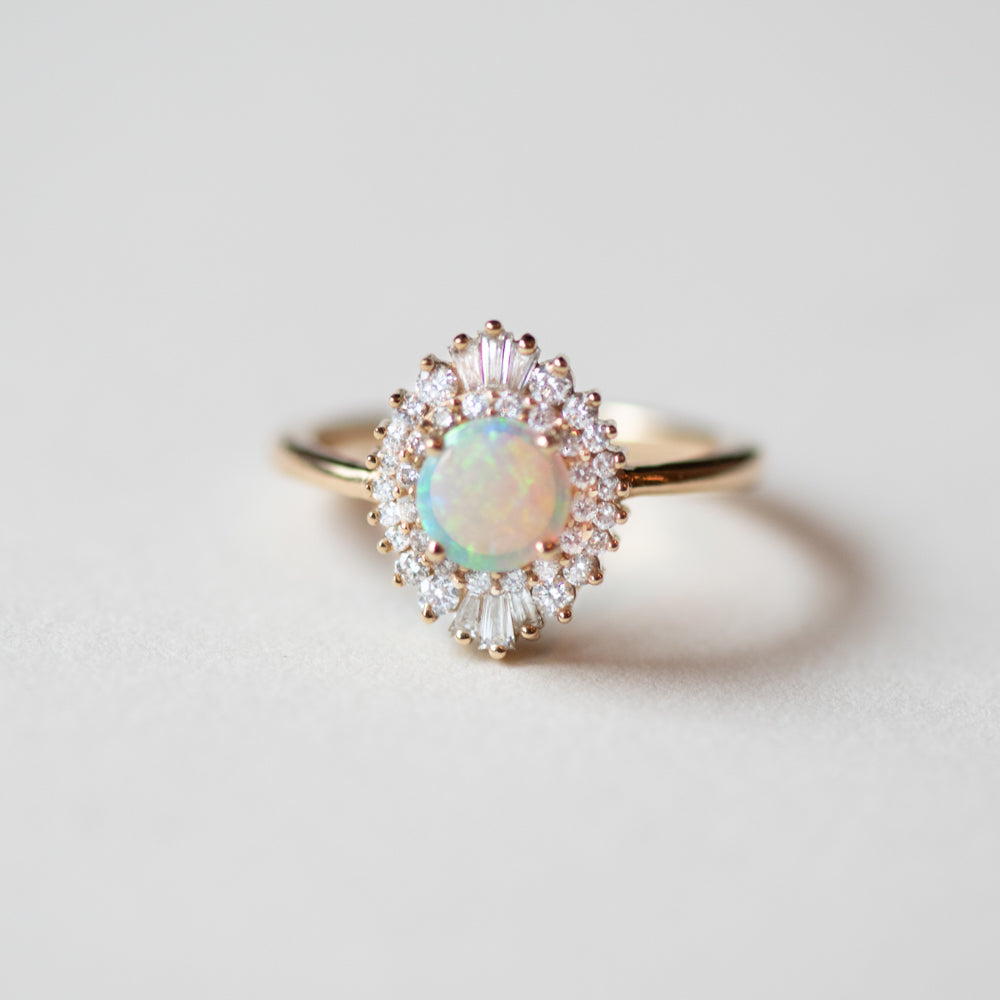 Arielle Diamond Opal Ring - Rings