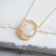 Oval Diamond and Opal Necklace - Necklace