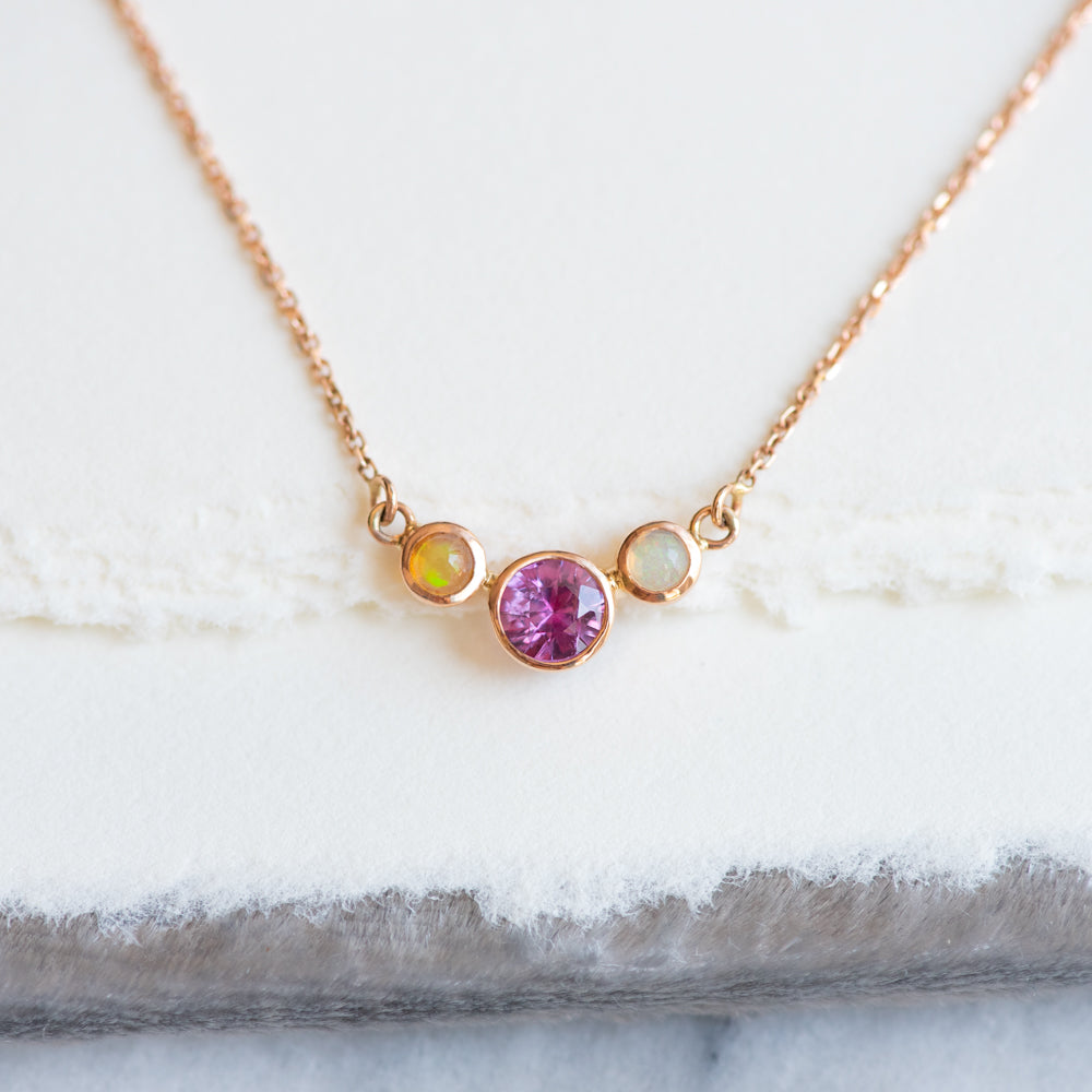 Pink Sapphire and Opal Necklace - Necklace