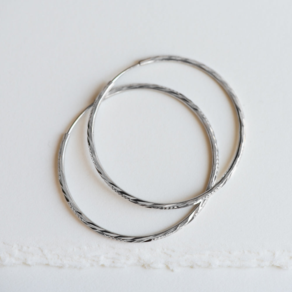 Glitzy White Gold Hoop Earrings - Earrings
