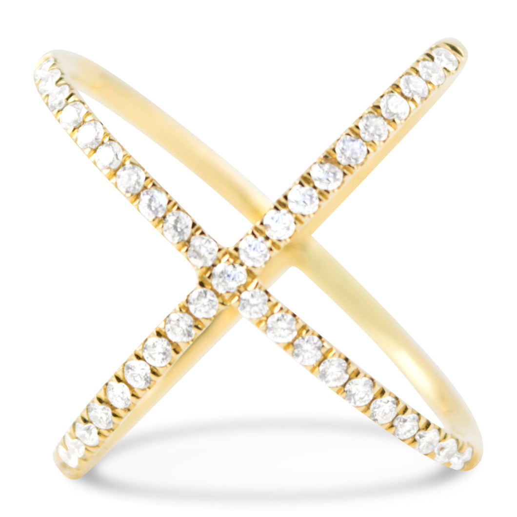 Yellow Gold Diamond X Ring - Rings