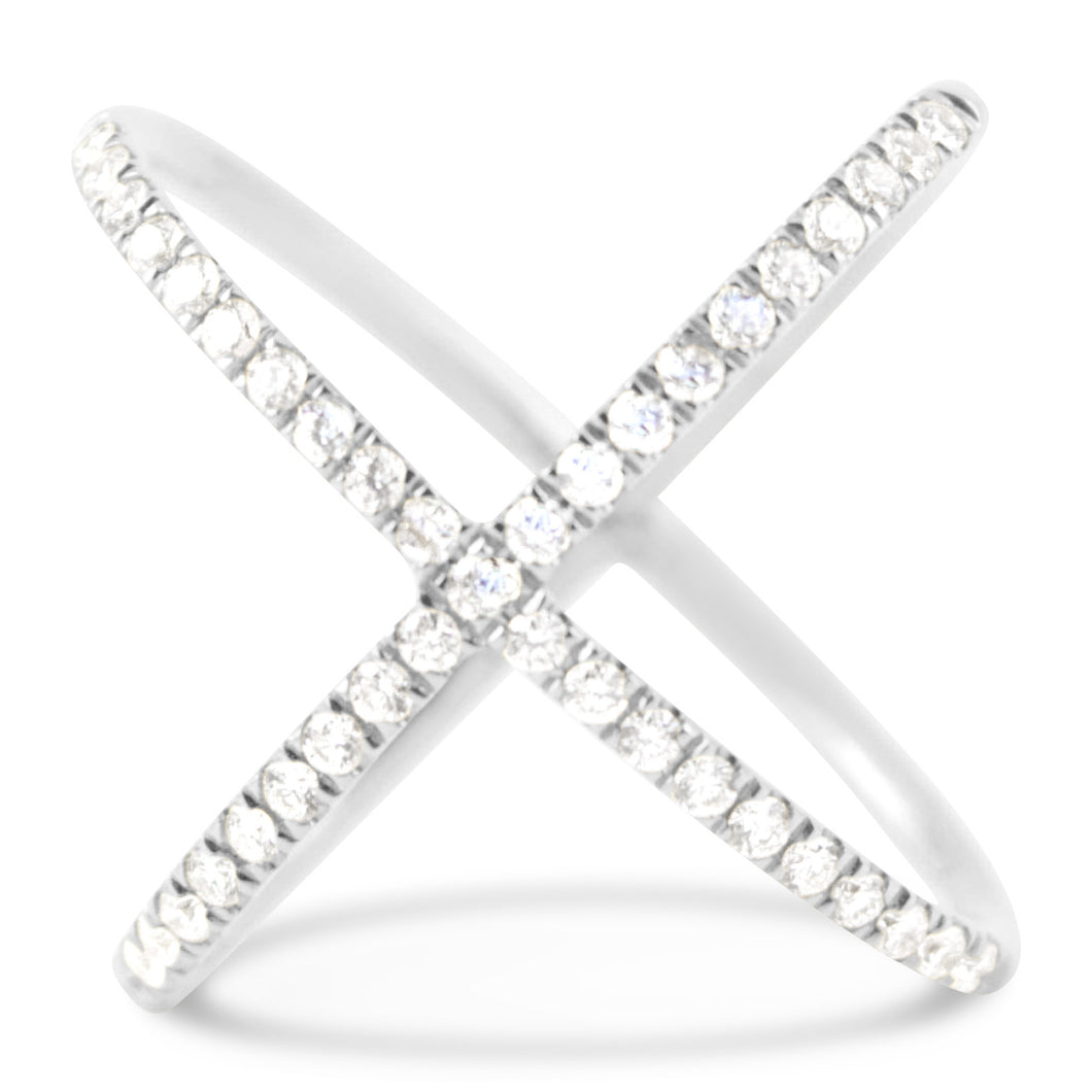 White Gold Diamond X Ring - Rings