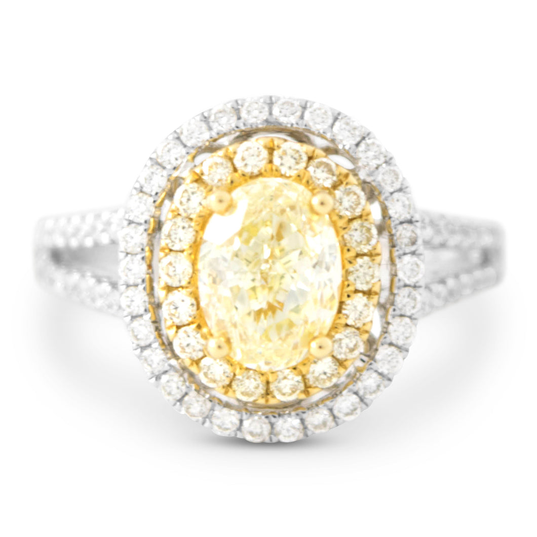 Belle Oval Yellow Diamond Halo Ring - Rings