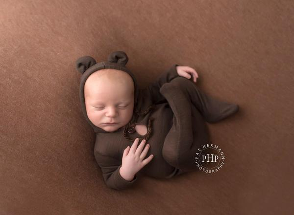 newborn brown bear hooded pjs