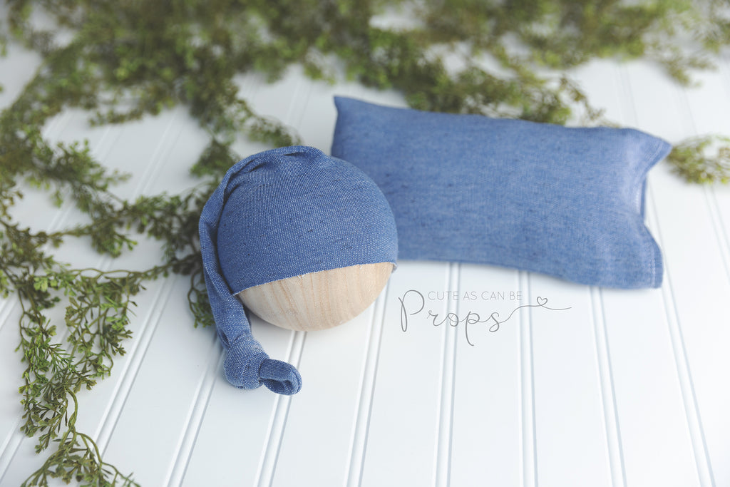 blue newborn pillowcase and sleepy hat set
